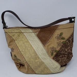 Fossil Patchwork Canvas Leather Hobo Handbag
